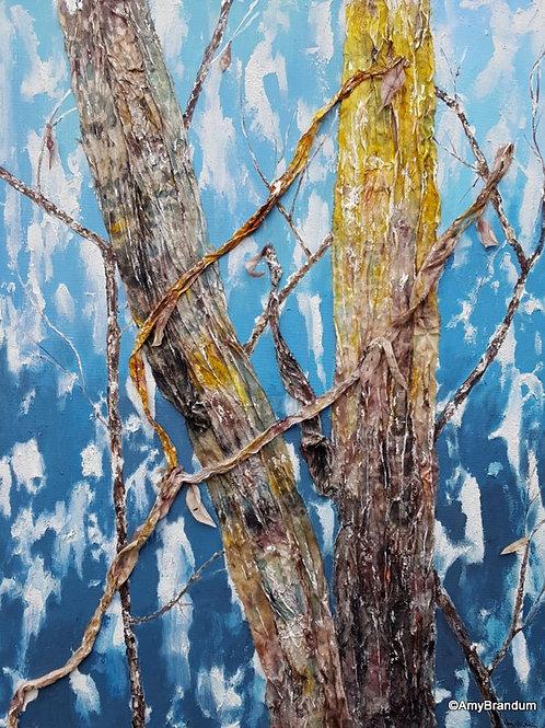 "Aqua Winter Branches original mixed media painting with silk, 24x30"""