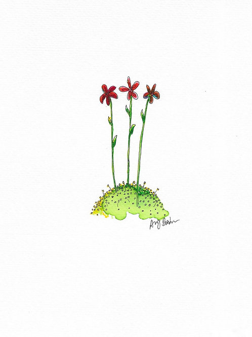 Small Red Flowers matted watercolor print, 11x14""