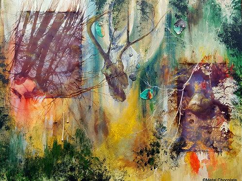 "Nature Reminiscing original painting, 24x30"""