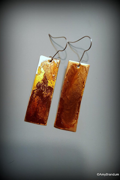 Brown and Gold Long Rectangle Earrings