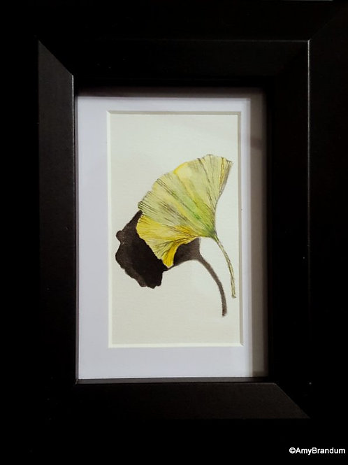Gingko Leaf Shadow original framed watercolor painting, 7x9""