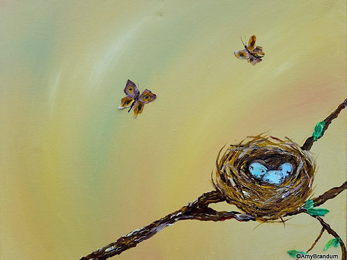 """Butterflies and the Nest original painting with silk, 16x20"""""""