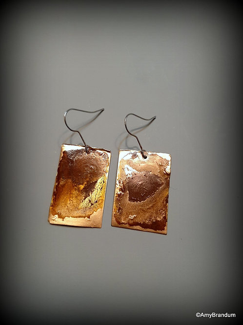 Gold and Brown Marbled Earrings