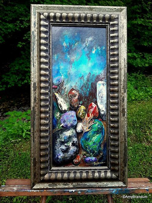 "Little Time original framed painting, 13x25"""