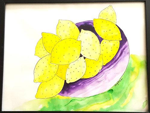 """Lemon Bowl original framed watercolor painting,10x12"""""""