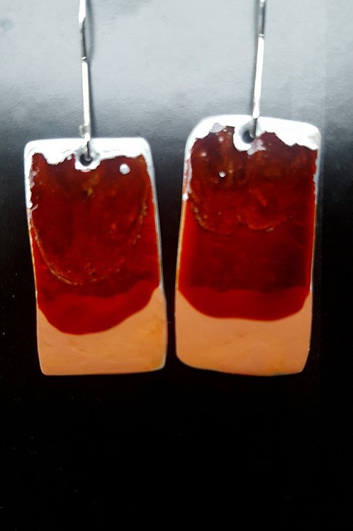 Red and Coral Rectangles Earrings