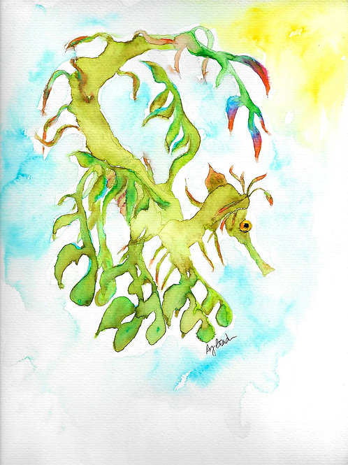 Green Sea Dragon, matted watercolor print, 11x14""