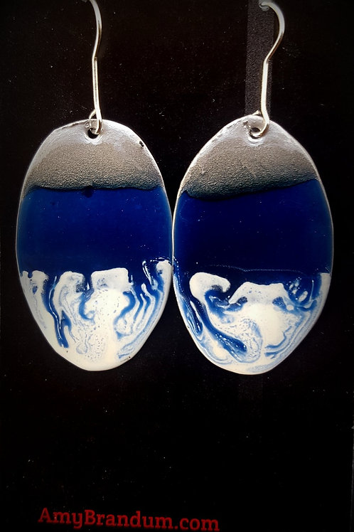 Blue and White Ocean Waves Oval Earrings