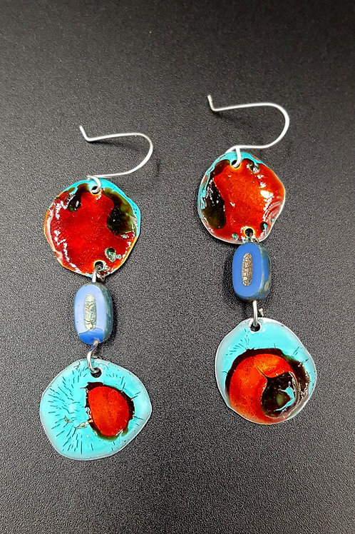 Blue and Red Summer Mai Tai Handmade Bead Earrings