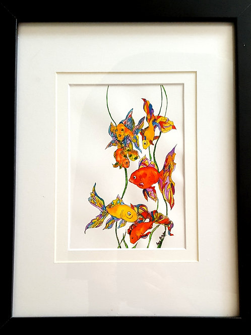 "Funny Fish original framed watercolor painting, 10x13"""
