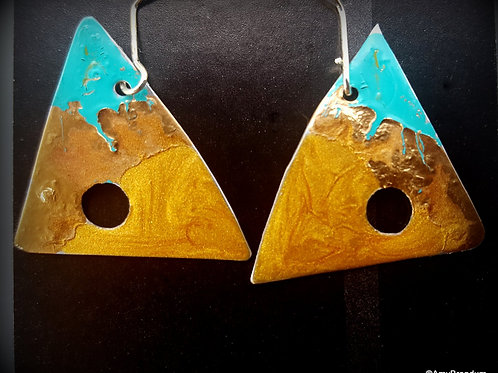 Gold Ocean Abstract Triangles Earrings