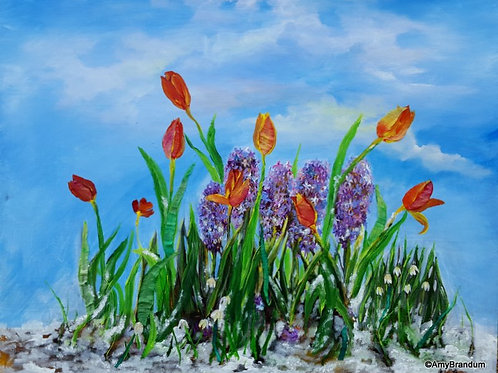 """Spring Bouquet in the Snow painting, 24x30"""""""