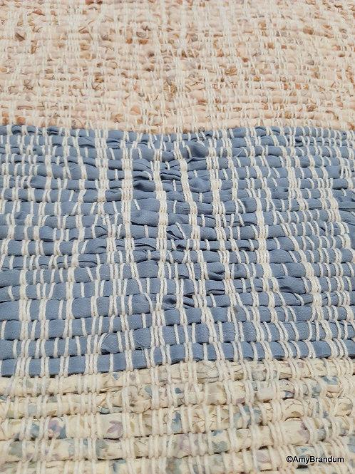 Blue Skies and Wheat Stripes Rag Rug
