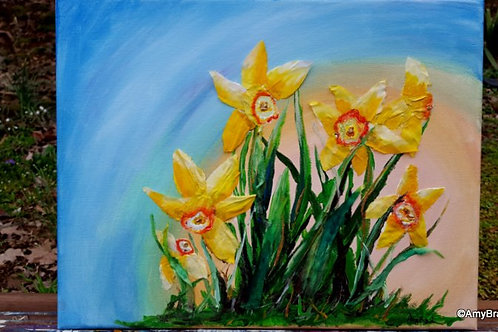 Sunny Daffodils mixed media painting, 11x14""