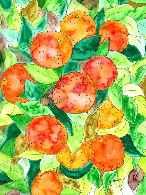 Juicy Orange Tree matted watercolor print, 11x14""