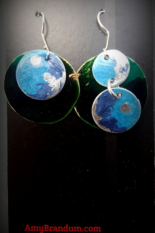 Blue and Green Planets Circle Mismatched Earrings