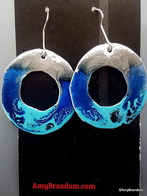 Blue Ocean Waves Rings Earrings