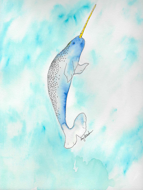 Blue Narwhal matted watercolor print, 11x14""