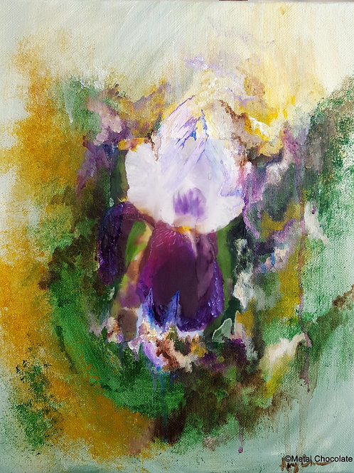 Purple Iris Deconstructed mixed media painting, 11x14""