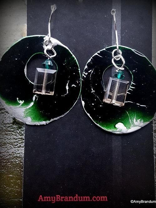 Green Bead Rings Earrings