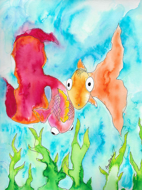 """Fish Eyes matted watercolor print, 11x14"""""""