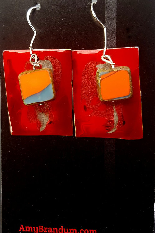 Red Mars Bead Square Earrings