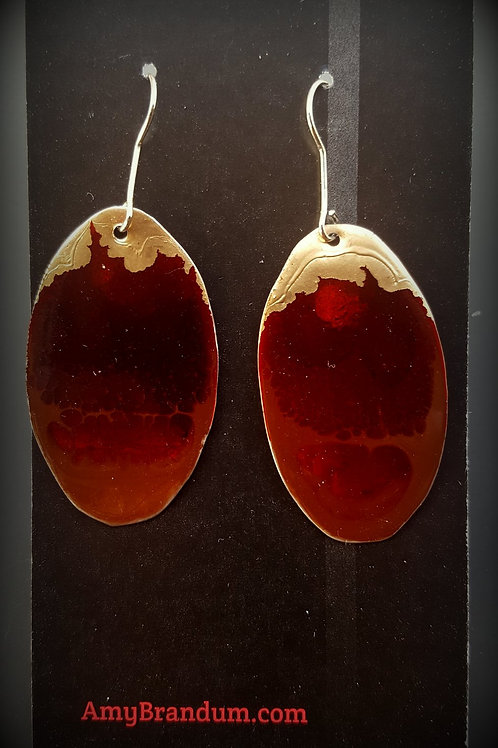 Red and Gold Oval Earrings