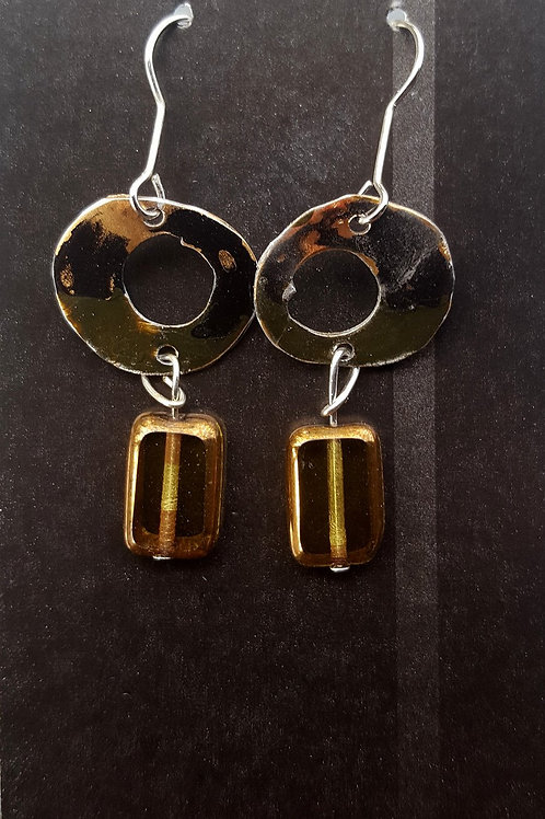 Smoky Bead Circle Earrings