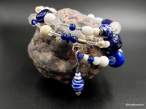 Blue and White Teacup wire bead bracelet