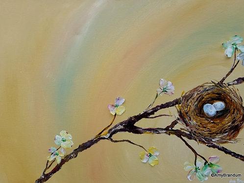 "Nest in Flowering Dogwood original mixed media painting, 18x24"" w/ silk"