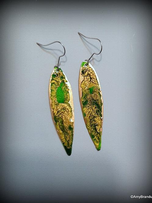 Green Geode Leaf Earrings