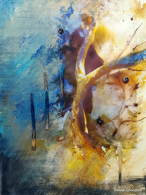 """Blue and Gold and Stories Untold original painting, 12x16"""""""