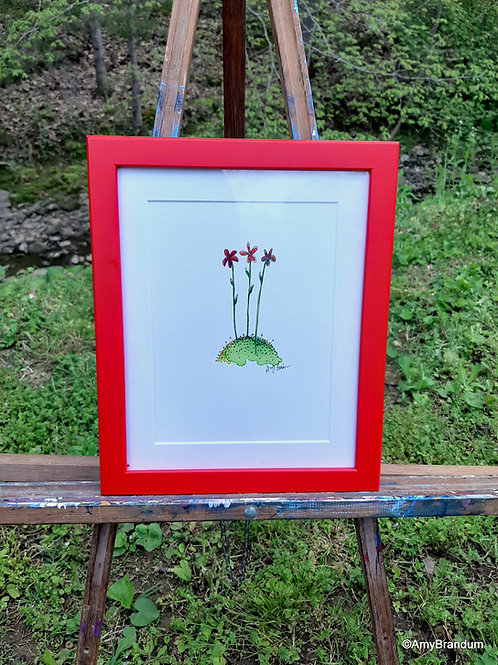 """Small Red Flowers original framed watercolor painting, 9.5x11.5"""""""