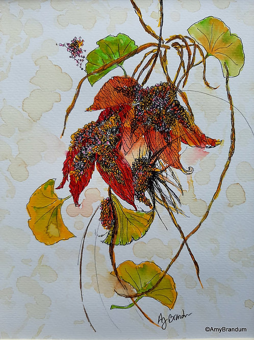 """Autumn Gathering original rustic framed watercolor painting, 14.5x17.5"""""""