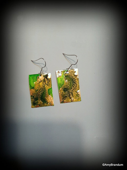 Green and Gold Marbled Squares Earrings