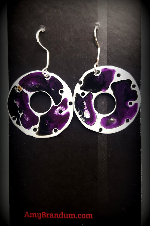 Purple and White Mod Round Earrings