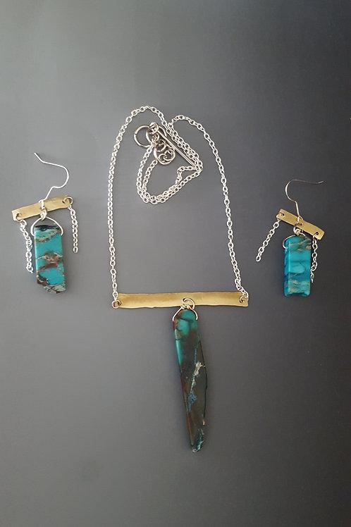 Modern Minimalist Malachite Necklace Earring Set