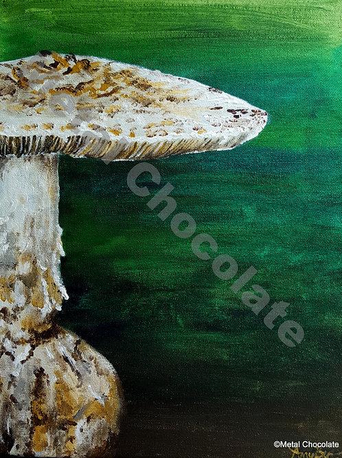 "Toadstool original painting, 11x14"""