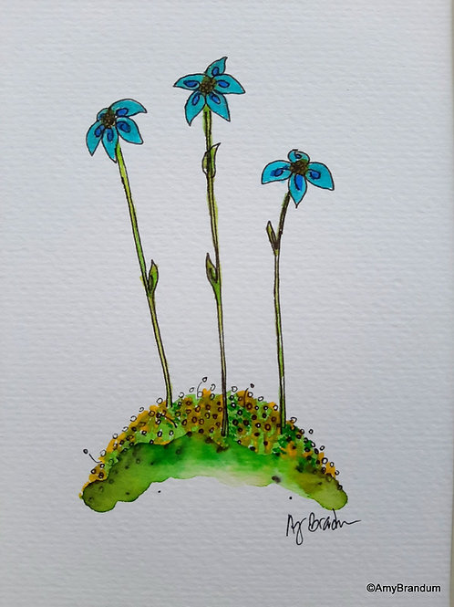 """Small Blue Flowers original framed watercolor painting, 9.5x11.5"""""""
