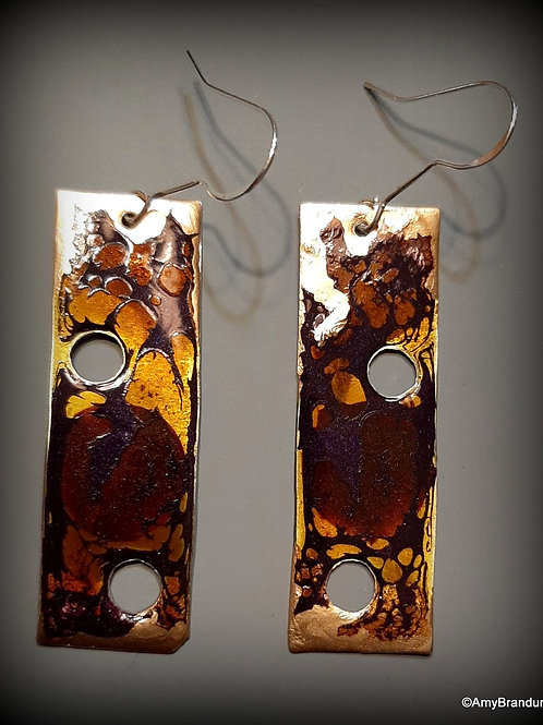 Purple, Brown and Gold Mod Long Rectangle Earrings