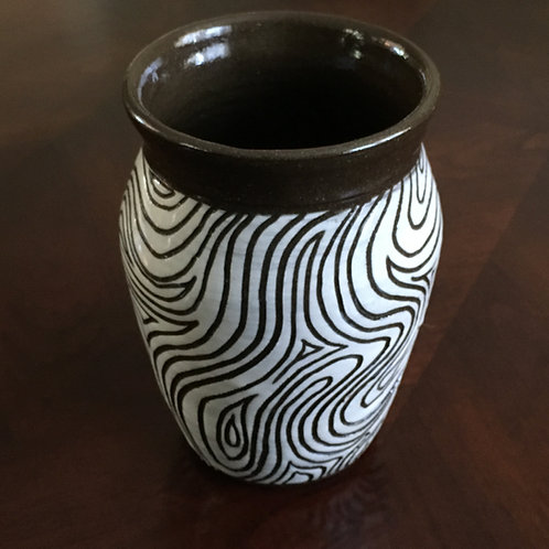 Brown & White Fingerprint Vase