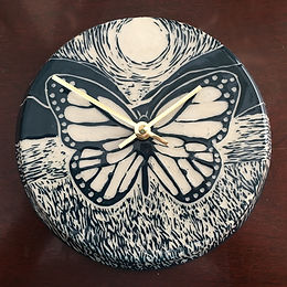 Dark Teal Butterfly Wall Clock