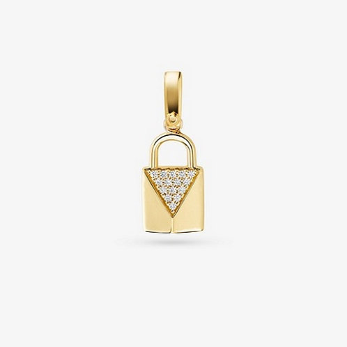 14K Gold-Plated Sterling Silver Pavé Lock Charm