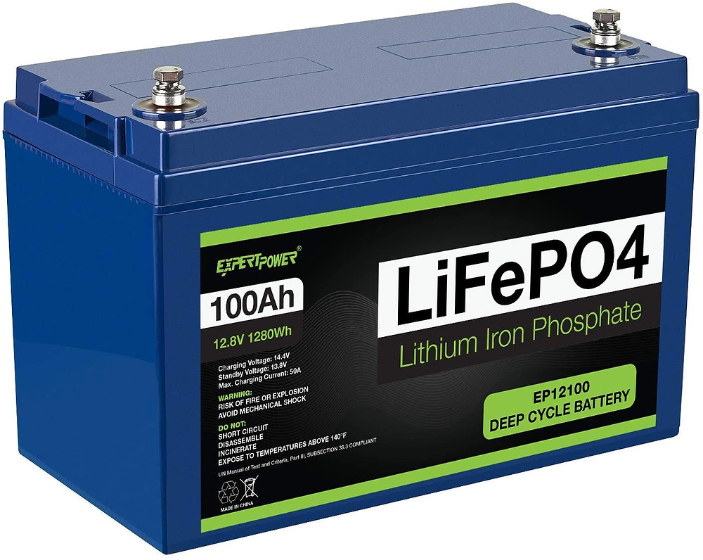 ExpertPower 12V 100Ah Lithium LiFePO4 Deep Cycle Rechargeable Battery | 2500-7000 Life Cycles & 10-Year lifetime | Built-in BMS | Perfect for RV, Solar, Marine, Overland, Off-Grid Applications