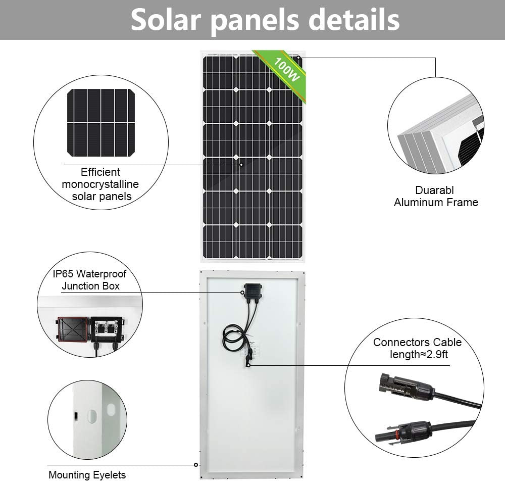 ECO-WORTHY 100W 0.4KWH/Day 12V Off Grid Complete Solar Power System Kit with Battery&Inverter: 100W Solar Panel+20A LCD Charge Controller+ 100AH 12V Lead Acid AGM Battery +1000W 12V-110V Inverter