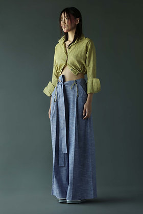 Crop Shirt with Drawstrings in Linen
