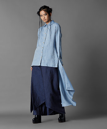 High Low Panel Shirt in Cotton