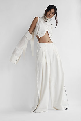 Double Pleated Trousers in Cotton