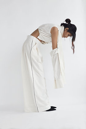 Crop Shirt with Detachable Sleeves