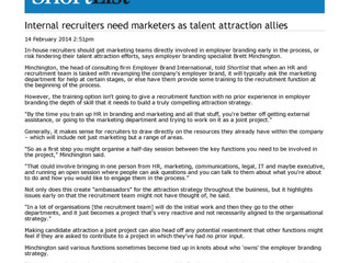 Internal recruiters need marketers as talent attraction allies
